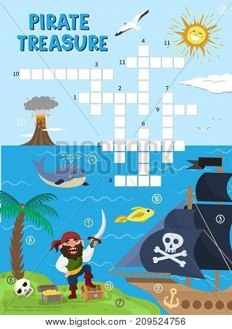 Pirate treasure adventure crossword puzzle maze education game for children about pirates find map sea labyrinth vector illustration. Kids learning preschool leisure.