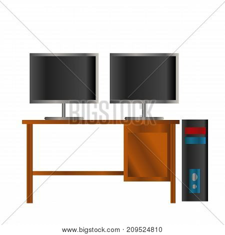 black and blue Pc with double black lcd screen on the wooden table isolated background