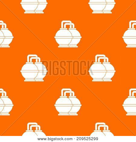 Industrial tanks for petrol and oil pattern repeat seamless in orange color for any design. Vector geometric illustration
