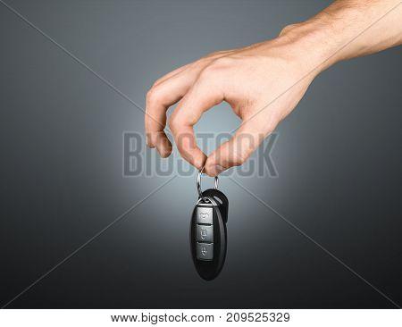 Key car hand background isolated business holding