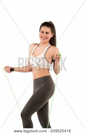 Beautiful Smiling Happy Slim Young Sporty Fitness Woman With Jump Rope