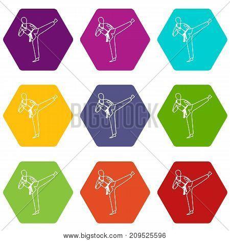 Wushu master icon set many color hexahedron isolated on white vector illustration
