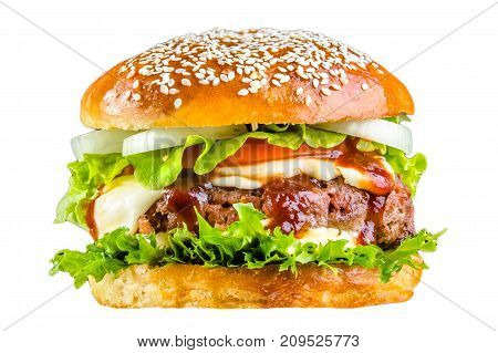Crispy crust bread burger, tomato sauce, mozzarella cheese, onion rings, greens, sprinkled with sesame seeds, juicy meat pork meat steak, tomatoes, lettuce leaves Isolated on white background.