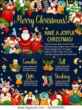 Merry Christmas winter holidays wishes on greeting card design template. Vector Santa gifts in Christmas stockings , New Year candle in garland decoration or holly wreath, snowman and golden bells