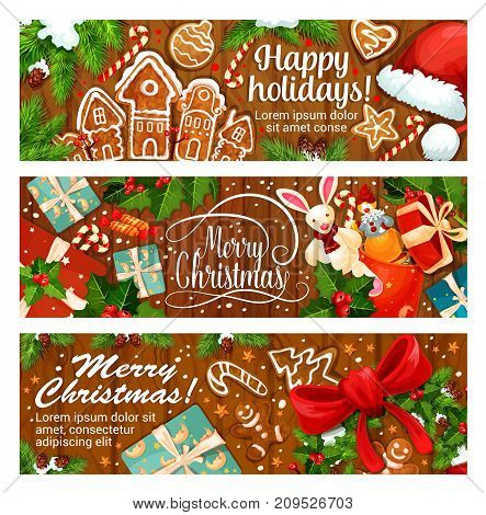 Merry Christmas and Happy Holidays wish greeting banners. Vector design of gingerbread cookie, Christmas tree or Santa gift and hat, golden bell and holly wreath decoration for New Year winter season