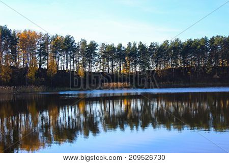 Autumn nature. Autumn forest. Russian forest. Nature Reserve. Golden autumn. Lake in autumn forest. Autumn forest reflected in the lake in september. Autumn landscape. Russian forest in autumn. Travel in Russia. The lake in Russia
