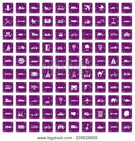 100 transport icons set in grunge style purple color isolated on white background vector illustration