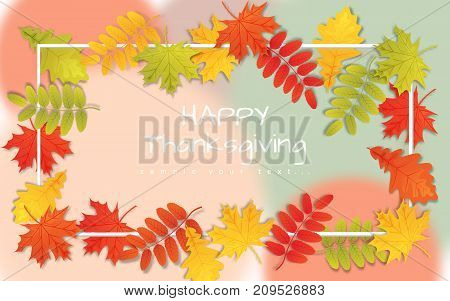 Happy Thanksgiving Day background with autumn leaves.