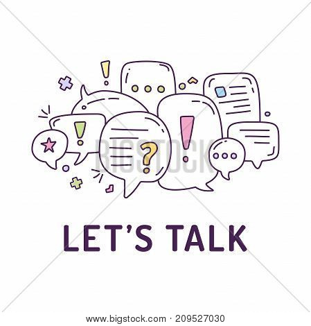 Vector Illustration Of Colorful Dialog Speech Bubbles With Icons And Text Let S Talk On White Backgr