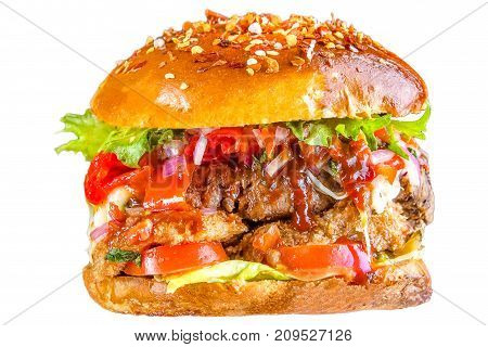 Crispy crisp bread burger, tomato sauce, mozzarella cheese, onion rings, greens, sesame seeds, juicy meat, pork meat steak, tomatoes, lettuce leaves Isolated on white background.