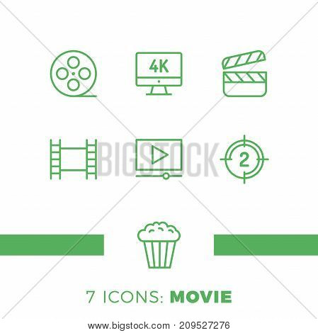 Simple Set Of Cinema Related Vector Line Icons. Contains Such Icons As Movie 4K, Popcorn, Video Clip