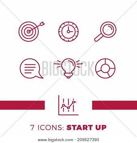 Simple Set Of Start Up Or Business Related Vector Line Icons. Contains Such Icons As Bulb, Target, C
