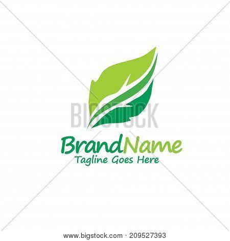 green leaf ecology nature element vector, logo and abstract organic leaf logo, Leaf logo ecology graphic creative template, Environment decoration modern leaf emblem