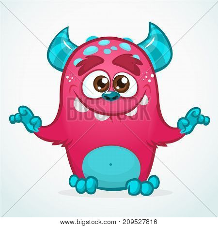 Happy cartoon monster. Halloween pink furry monster. Big collection of cute monsters. Halloween character. Vector illustrations. Good for book illustration magazine prints or journal article