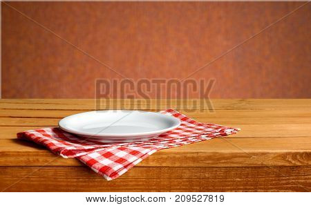 White plate napkin table background object circle