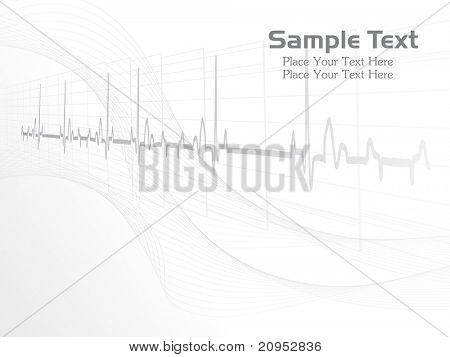 Resumen gris heart beat, fondo ondulado para el día del médico