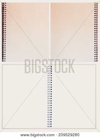 Brown color notebook on wood background and white tone