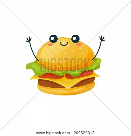 Funny character of delicious dishes from fast food. Cheerful, funny, delicious, a hamburger with a smile on his face and raises his hands up. Modern vector illustration fast food isolated.