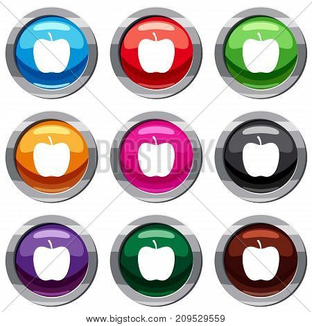 Glossy apple set icon isolated on white. 9 icon collection vector illustration