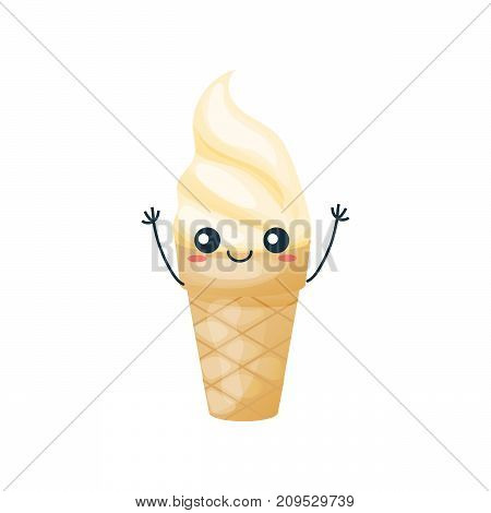 Funny character of delicious dishes from fast food. Funny, sweet, creamy, waffle glassful with ice cream, with a smile on his face and his hands up. Modern vector illustration isolated.