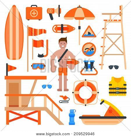 Rescuer lifesaver worker man on beach. life-saving service lifeguard beach devices vector illustration.