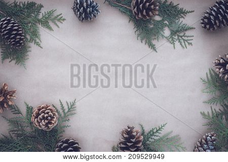 Flat lay composition for autumn and winter Christmas holidays greeting cards. Pine cones and thuja branches on the kraft paper. Top view. Toned image