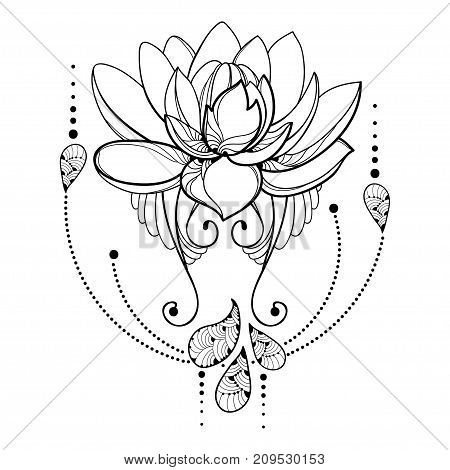 Vector Drawing With Outline Lotus Flower Decorative Lace And Swirls In Black Isolated On White