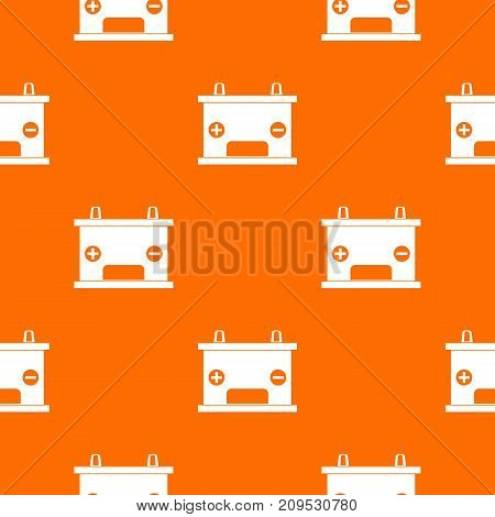 Electricity accumulator battery pattern repeat seamless in orange color for any design. Vector geometric illustration