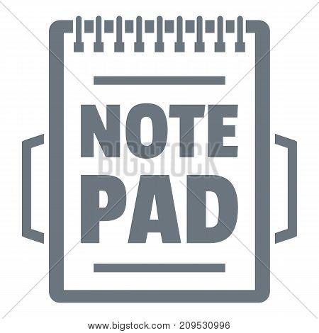 Notepad logo. Vintage illustration of notepad vector logo for web