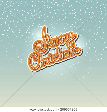 Merry Christmas in Colors of Cookies Text Merry Christmas on Snowfall Background in Turquoise Shades Winter Background with the Words Merry Christmas