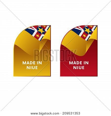 Stickers Made in Niue. Waving flag. Vector illustration.