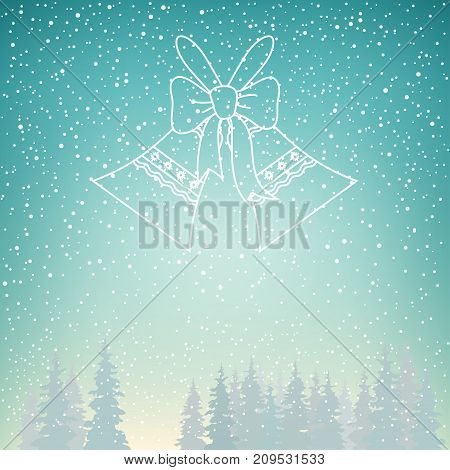 Snowfall and Holiday Crystal Glass Jingle Bells Snow Falls on the Spruce Snowfall in the Forest Fir Trees in Winter in Snowfall Winter Background Christmas Winter Landscape in Turquoise Shades