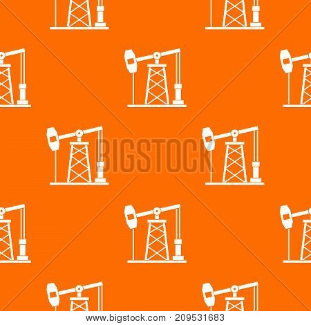 Oil derrick pattern repeat seamless in orange color for any design. Vector geometric illustration