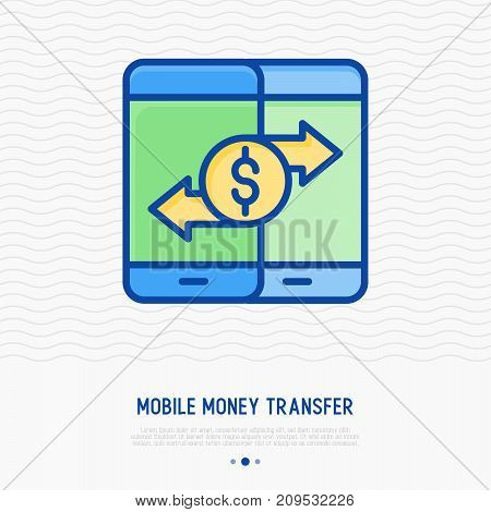 Mobile money transfer thin line icon. Vector illustration of mobile payments.