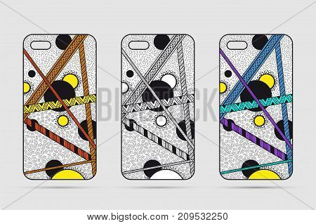 Mobile phone case design. Abstract geometric background. Vector illustration.
