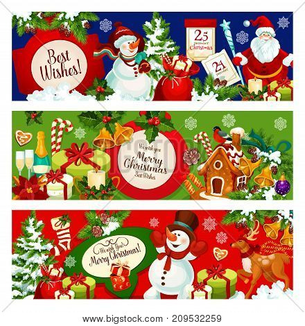 Christmas holiday greeting banner. Santa gift bag with presents, Christmas tree and holly berry with bell, ball and snowflake, Santa Claus and snowman, candy, candle and red sock, cookie and reindeer
