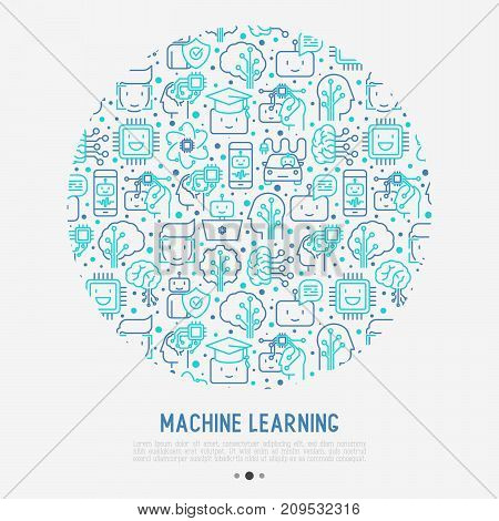 Machine learning and artificial intelligence concept in circle with thin line icons. Vector illustration for banner, web page, print media.