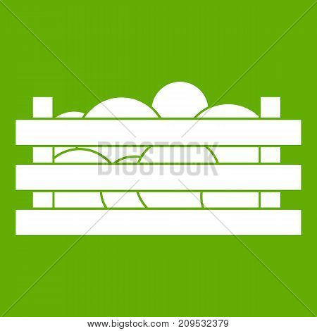 Watermelons in wooden crate icon white isolated on green background. Vector illustration