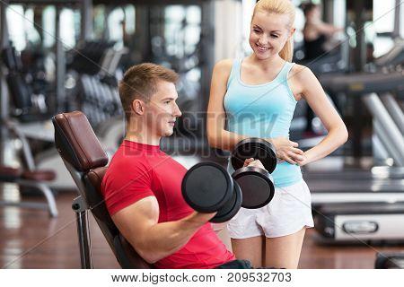 Man woman gym sport white background beautiful