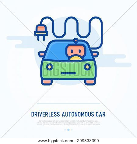 Driverless autonomous car thin line icon. Intelligent vehicle. Vector illustration of self-driving car.