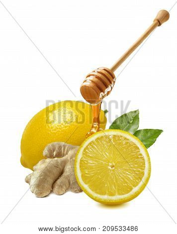 Lemon ginger honey dipper isolated on white background traditional cold treatment remedy