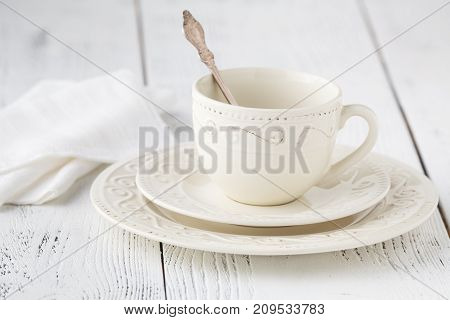 Empty Coffee Cup On Wood Table Top