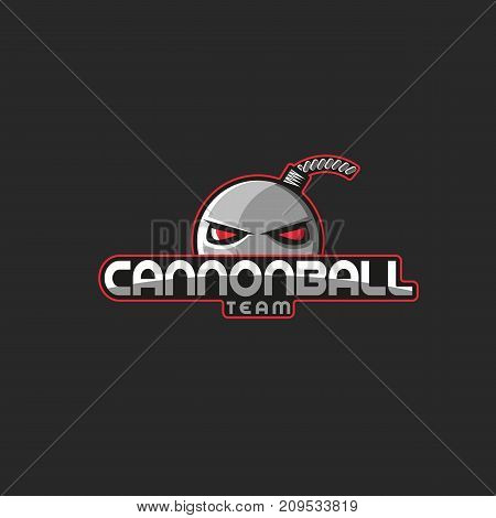 Professional esports emblem team mascot logo inscription cannonball with red eyes and with wick. T-shirt print design element template. poster