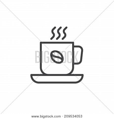 Cup of hot Coffee line icon, outline vector sign, linear style pictogram isolated on white. Symbol, logo illustration. Editable stroke