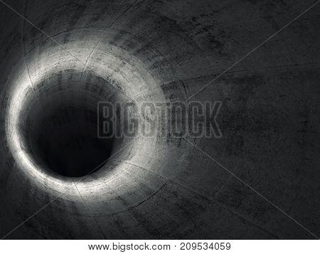Round Dark Concrete Tunnel Interior. 3D