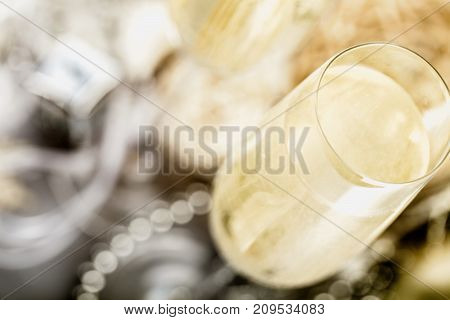 Champagne bubbly flute close up new year sparkling wine red