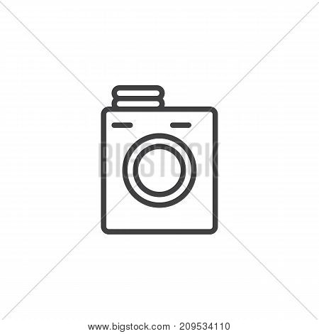 Laundry machine line icon, outline vector sign, linear style pictogram isolated on white. Symbol, logo illustration. Editable stroke