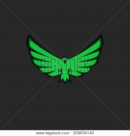 Eagle mascot emblem of green color for esport team, modern logo for print on T-shirt template, front view of bird with spread wings, paws and claws poster