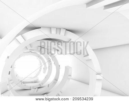 Abstract White Interior, Futuristic Digital Tunnel