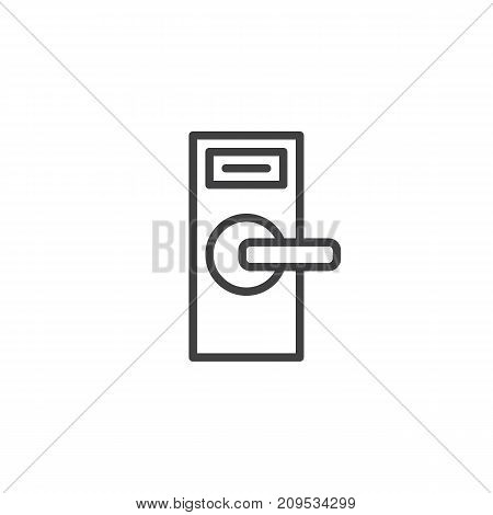 Door knob line icon, outline vector sign, linear style pictogram isolated on white. Symbol, logo illustration. Editable stroke